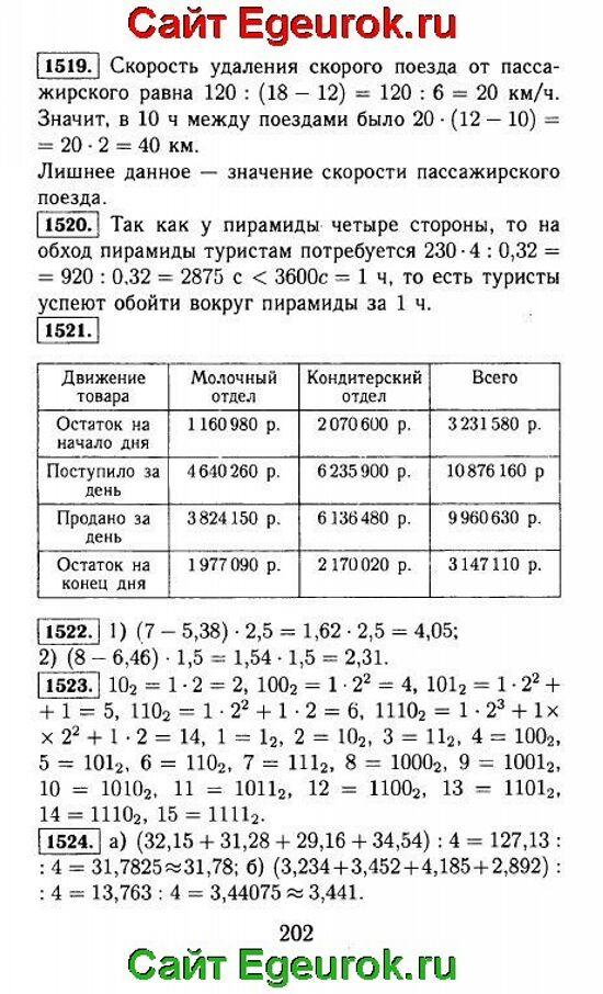 ГДЗ по математике 5 класс - Виленкин - решение задания номер №1519-1524.