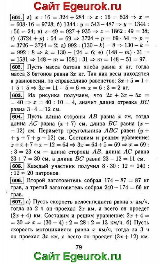 ГДЗ по математике 5 класс - Виленкин - решение задания номер №601-607.
